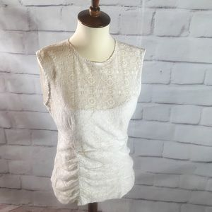 Anthropologie Tops - Anthropologie Nanette Lepore White Lace Tank Top